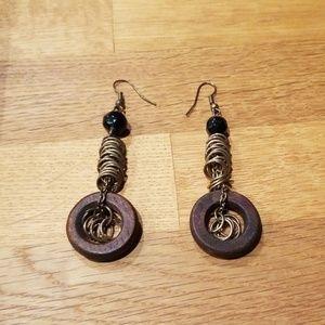 NWOT dangling wood & metal earrings